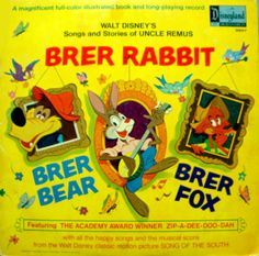 Brer Rabbit, Brer Bear, Brer Fox, Uncle Remus - Vintage Children or Youth Vinyl Record and Illustrated Story Book by on Etsy