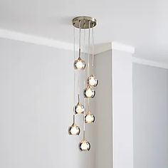 Dunelm | Bedding, Curtains, Blinds, Furniture & More Cluster Lights, Satin Color, Glass Material, Light Fittings, Glass Shades, Clear Glass, Blush Pink, Chandelier, Bulb