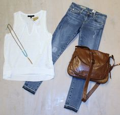 Tuesday Team Trivia White V-Neck Blouse  by Sanctuary $58 Knee Patch and Un-done Hem Skinny Jeans by AG Jeans $235 Brown and Turquoise Feather Necklace  by Golden Stella $42 Chocolate Brown Leather Cross Body Bag  by Latico $166