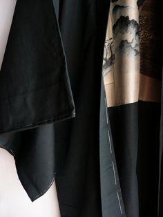 Men's kimono jacket silk dark green ukiyo-e by WhatsForPudding