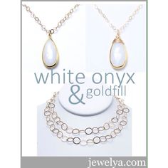 "We need your opinion....Which version of our faceted white onyx teardrop pendant necklace do you like the most?  Simply hung on the chain or with our hand created ""messy"" wire wrap?  Both layer PERFECTLY with our Goldfill Circle Chain!"