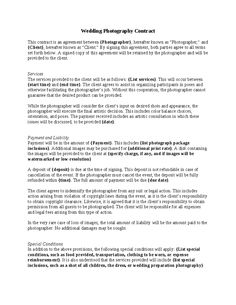Wedding Photography Contract More