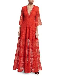 Akyria V-Neck Lace Maxi Dress, Red http://picvpic.com/products/akyria-v-neck-lace-maxi-dress-red