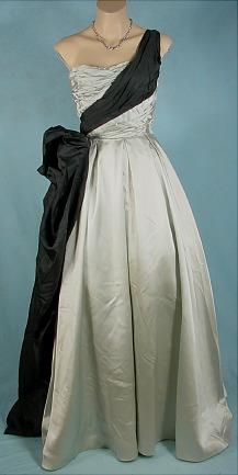 CEIL CHAPMAN Mint Pistachio Satin Ballgown! This gown was shown in a Vogue Ad in 1952