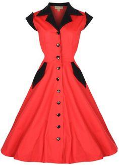 Lindy Bop 'Jeanette' Rockabilly Kleid 50er Jahre, Fifties Baumwollhemd (34, Rot) Lindy Bop,http://www.amazon.de/dp/B00E3U3HSU/ref=cm_sw_r_pi_dp_KO5Htb10305G3BGD