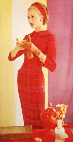 Red 1950's Fashion . I love the silhouette this dress creates .