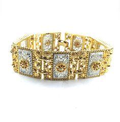 Bracelet Rococo Victorian Revival Gold Tone Filigree Panels