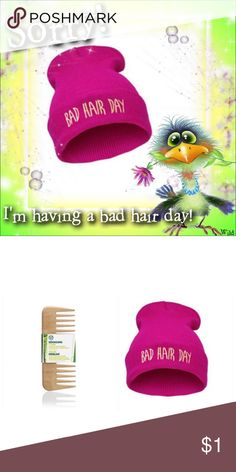 """""""Bad Hair Day"""" Beanie & TBS Detangling Comb ⚠️Gotta Comb.....? ⚠️ Hot Pink in color; letter graphic detail on front; cotton blend➕ The Body Shop Detangling Wooden Hair Comb - wide-tooth➕Eye-It...Buy-It! Fashion/The Body Shop Accessories"""