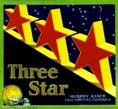 Whittier CA, Three Star Brand fruit crate label