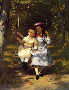 Two Girls on a Swing by John George Brown