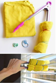 Clean blinds with rubber bands, cloth, and tongs