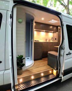 Van Conversion Interior, Camper Van Conversion Diy, Van Conversion Lighting, Van Conversion With Shower, Motorhome Conversions, Sprinter Van Conversion, Van Life, Kombi Motorhome, Build A Camper Van