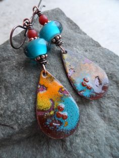 Santa Fe ... Copper Enameled Charms, Lampwork and Copper Wire-Wrapped Rustic, Boho, Earthy, Southwest Earrings