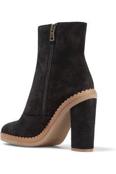 See by Chloé - Scalloped Suede Ankle Boots - Black - IT37.5