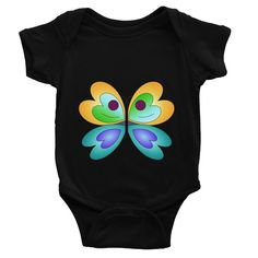 Yellow Blue Butterfly Baby Bodysuit