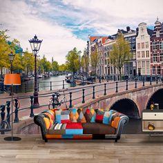 I LOVE the couch!!!  Fotobehang Amsterdamse Grachten | Maak het jezelf eenvoudig en bestel fotobehang voorzien van een lijmlaag bij YouPri om zo gemakkelijk jouw woonruimte een nieuwe stijl te geven. Voor het behangen heb je alleen water nodig! #behang #fotobehang #print #opdruk #afbeelding #diy #behangen #amsterdam #grachten #straatbeeld #nederland #holland #huizen #fietsen #amsterdams