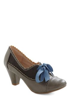 Notch Your Step Heel in Grey by Chelsea Crew - Mid, Leather, Grey, Blue, Scallops, Work, Variation, 60s