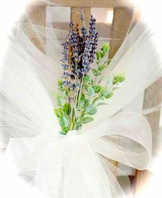 lavender and tulle chair decor