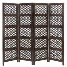 "Cole & Grey 72.83"" x 80"" Loft Wood Screen 4 Panel Room Divider & Reviews | Wayfair"
