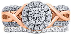 jcpenney FINE JEWELRY Modern Bride Signature 11⁄4 CT. T.W. Diamond 14K Rose Gold Bridal Ring Set on shopstyle.com