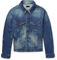 Distressed to replicate years of wear, Simon Miller's jacket will find a lasting place in your casual wardrobe. It has been made in Japan from premium denim and flecked with paint. Don't be afraid to roll up the sleeves and rough it up a bit more.