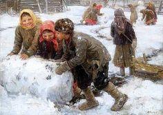 'Making Snowman', 1910. Artist Fedot Sychkov
