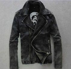 Black-Mens-locomotive-Vintage-retro-Jacket-punk-motor-biker-Denim-Jeans-Coat
