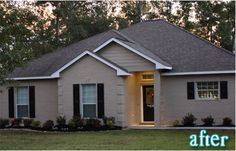 Exterior Taupe Painted Brick