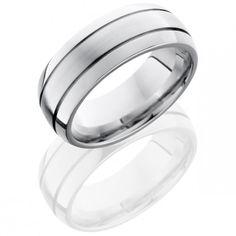Cobalt Chrome 8mm domed 3-band mens wedding band