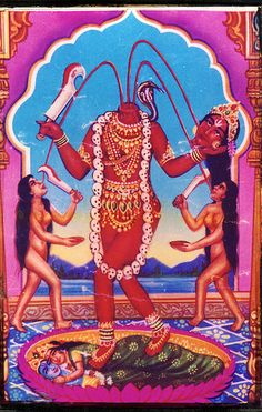 """cybercvlt: """""""" Icon showing the goddess Kali as Chinamasta— """"she who cuts off her own head."""" Believe it or not, this form of Kali is supposed to emphasize her more generous side. The lovers beneath. Shiva Hindu, Shiva Shakti, Hindu Deities, Hindu Art, Durga Maa, Hanuman, Indian Goddess, Mother Goddess, Goddess Lakshmi"""