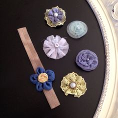 Nocturne Blue/Green Flower with by HarChloBandsAndBows on Etsy