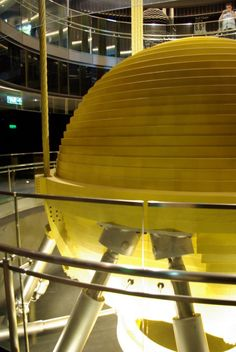 Taipei 101's tuned mass damper, located inside the building to reduce mechanical vibrations.