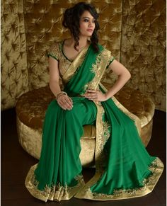 Emerald Green Sari with Embellished Pallu and Blouse