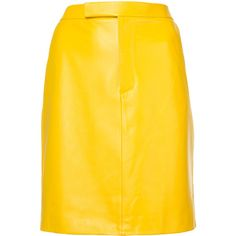 Ralph Lauren Collection straight high-waisted skirt ($1,940) ❤ liked on Polyvore featuring skirts, yellow skirts, high-waist skirt, ralph lauren collection and straight skirt
