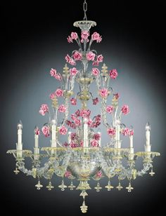 A captivating pink Venetian flower chandelier. Beware of imitations which may be of poor quality. Any Murano glass chandelier you buy from us will come with a certificate of authenticity for you!.  http://www.italian-lighting-centre.co.uk/fine-italian-chandeliers/nine-light-rezzonico-style-chandelier-with-pink-roses-p-3665.html