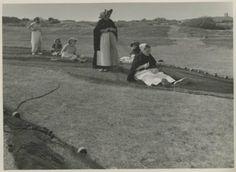 Harstenhoekweg, nettenboetsters aan het werk; een paar jongere vrouwen zijn al niet meer in dracht gekleed. 1955 Foto Archief Jos-Pe, Arnhem #ZuidHolland #Scheveningen