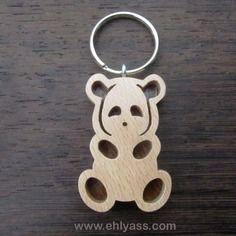 Porte-clés panda en deux bois massifs