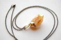 Raw Citrine Crystal Necklace  MEDIUM  Handmade by SPARKLEFARM, $40.00