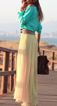 blue top & the pleated maxi