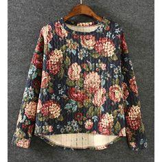 Stylish Round Collar Long Sleeve Retro Floral Print High-low Hem Women's Sweatshirt