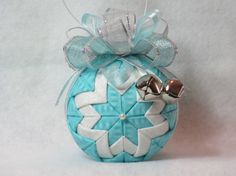 Quilted Christmas Ornament no sew ice blue by KCFabricOrnaments, $15.00