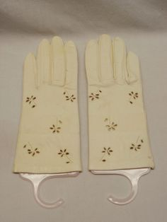 Vintage White Italian Kid Leather Womens Gloves Cutwork Size 7 finale Italy 50s #finale #Everyday