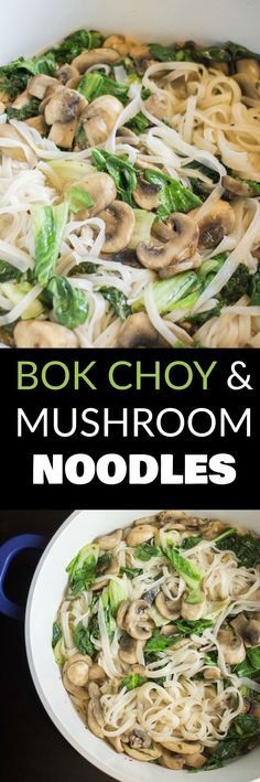 Chinese Bok Choy and Mushroom Noodles CHINESE Bok Choy and Mushroom Noodles is DELICIOUS! This healthy recipe is made in 15 minutes and makes Asian cooking easy! These noodles are vegetarian, spicy and simple! We love this dinner in our house! Veggie Recipes, Asian Recipes, Vegetarian Recipes, Cooking Recipes, Healthy Recipes, Ethnic Recipes, Vegan Meals, Wok Recipes, Veggie Snacks