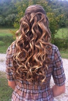 Gorgeous Curly Long Brunette Homecoming and Prom Hairstyle