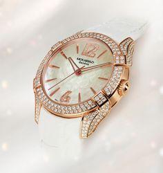 "#MouawadGenève unveils a #luxurious version of its ""La Griffe"" #watch, in rose gold and set with brilliant-cut #diamonds. La Griffe, ref. J4315"