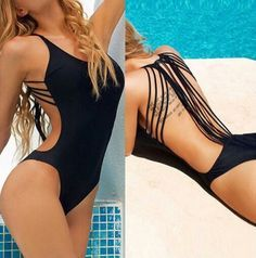 This gorgeous swimsuit is a must have this season. Made of polyester and spandex there is stretch and versatility. Runs small, please order as listed below. Model is wearing a size small. Large in bla