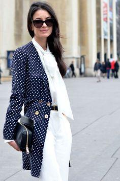 white + polka dots