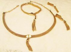 VINTAGE JUDY LEE GOLDTONE MESH TASSEL NECKLACE MATCHING BRACELET EARRINGS 1960's #JudyLee