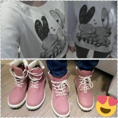 WHITE HOODIE WITH BUNNY 25€ PINK WORKERS 31€