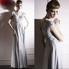 Designer Gray Grey Lace Cap Sleeve Fall Winter Evening Ball Gowns Dresses SKU-122206